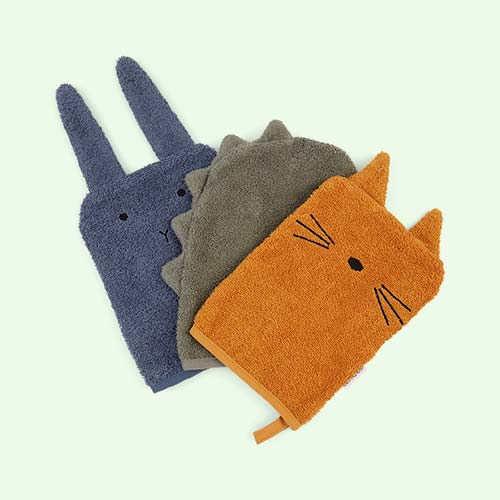 Dino Dove Blue Liewood 3-Pack Sylvester Washcloth