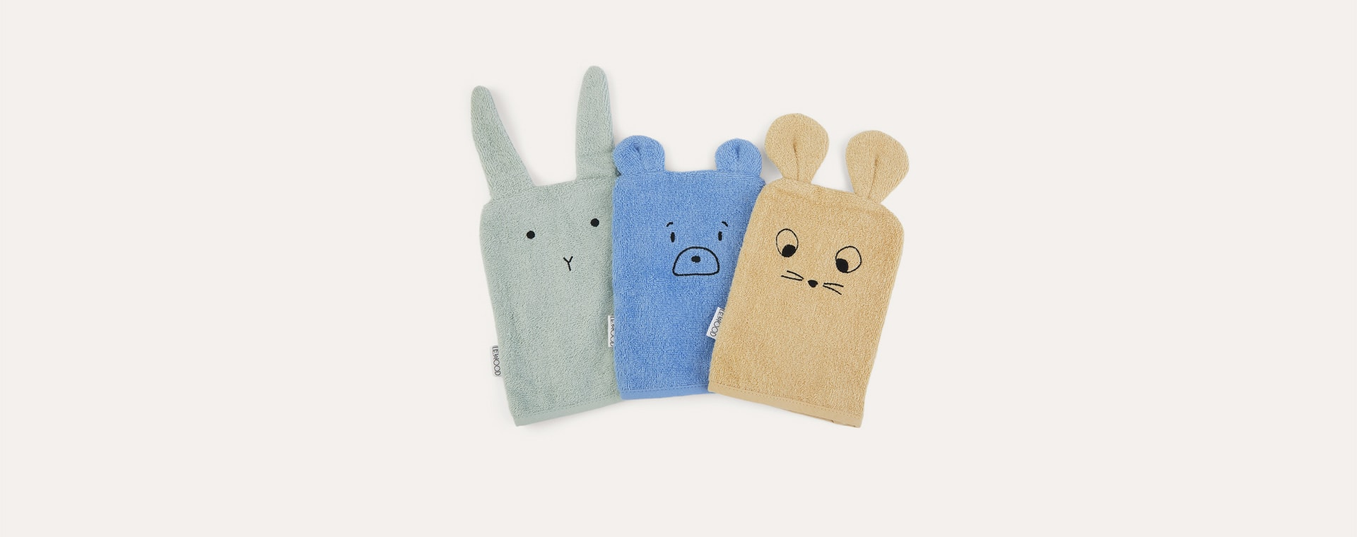 Mouse/Dusty Mint Multi Mix Liewood 3-Pack Sylvester Washcloth