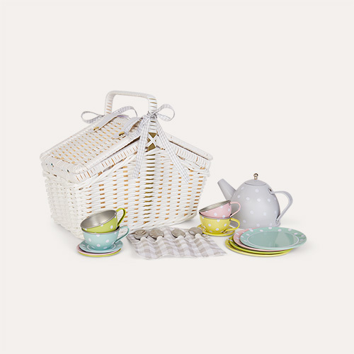 Multi Jabadabado Picnic Basket Tin Tea Set