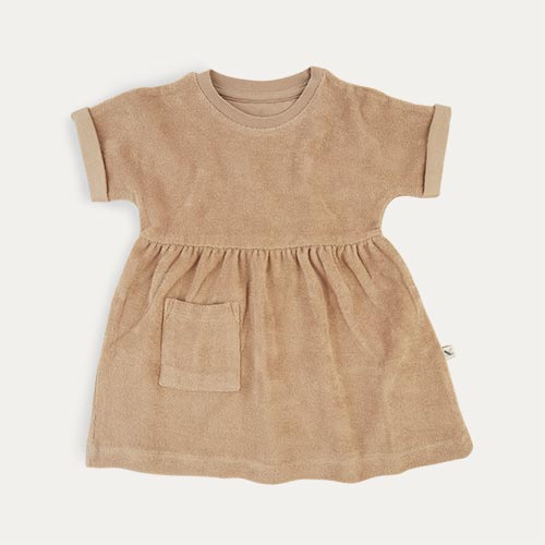 Natural KIDLY Label Towelling Dress