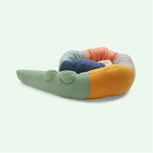 Multi Sebra Sleepy Croc Knitted Cushion