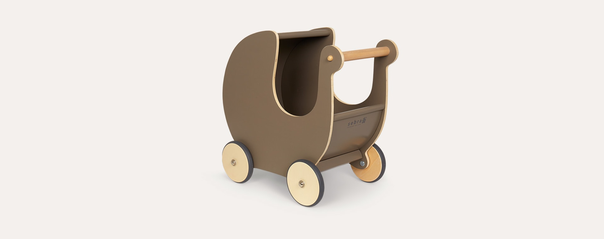 Warm Grey Sebra Wooden Doll's Pram