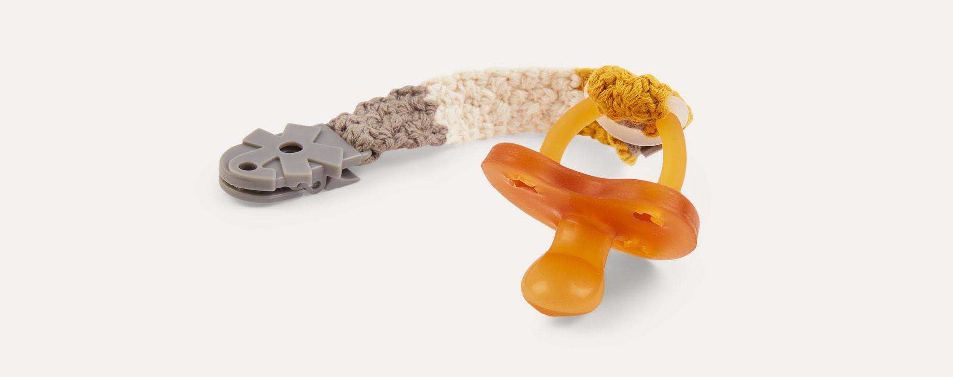 Honey Mustart Sebra Crochet Pacifier Clip