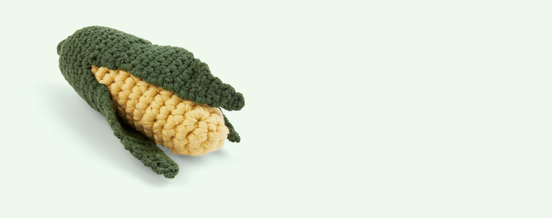 Corn on the Cob Sebra Crochet Rattle
