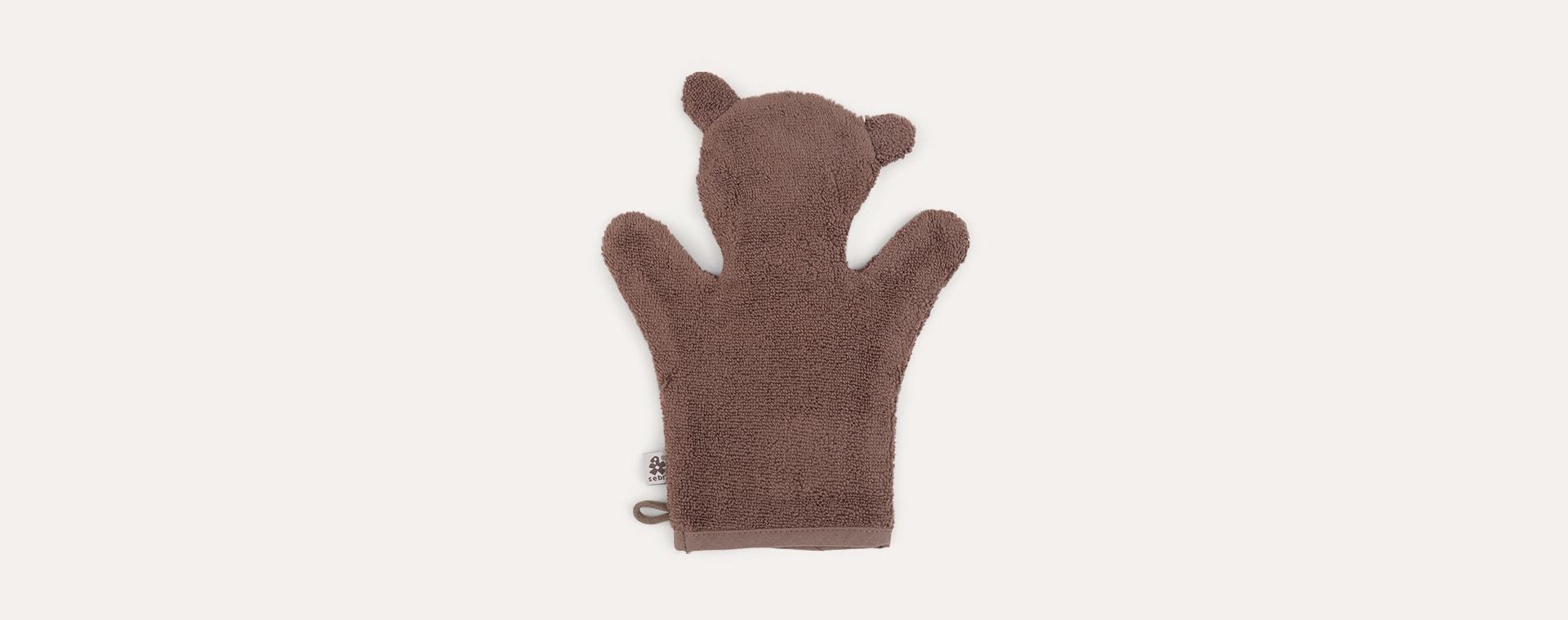 Milo Bear Sebra Terry Bath Puppet Washcloth