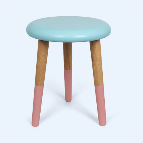 Aqua Blue/Coral Pink Rose In April Stool