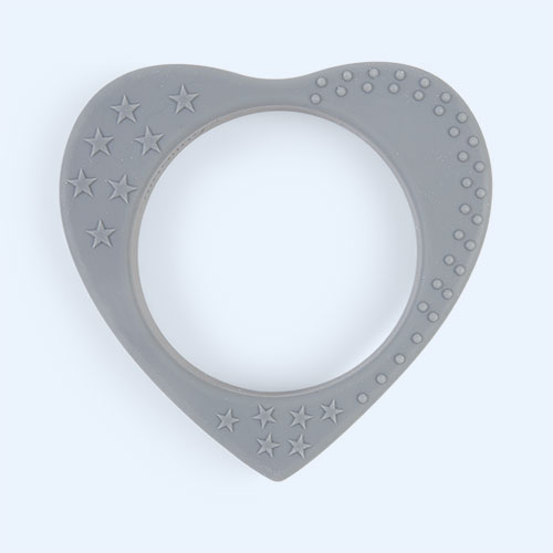 Grey Nibbling Heart Teether