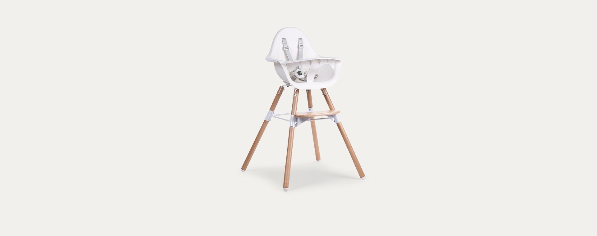 White Childhome Evolu 2 Chair 2 in 1 + Bumper