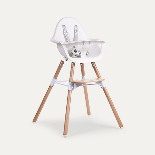 White Childhome Evolu 2 Chair 2 in 1 + Bumper