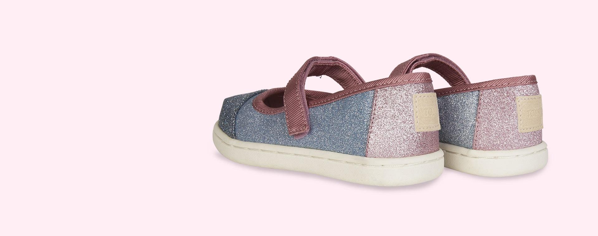 Blue TOMS Glitter Mary Jane Shoe