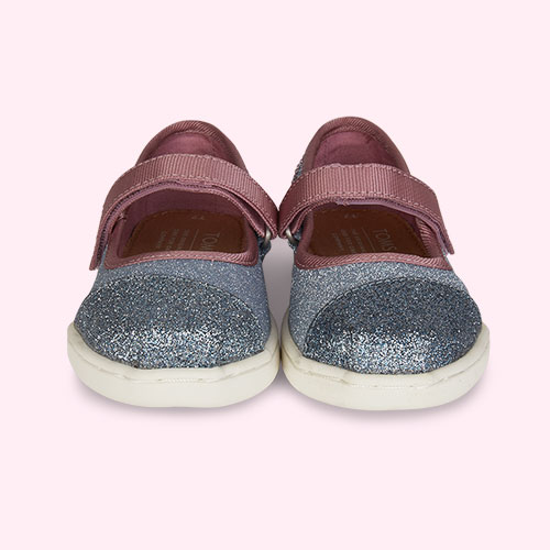 Blue TOMS Glitter Mary Jane Shoe