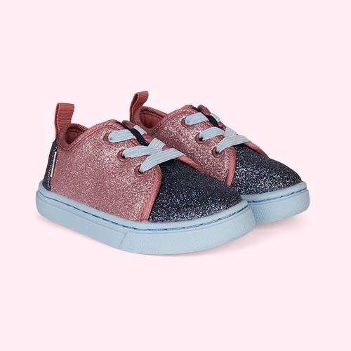 Pink TOMS Glitter Lenny Sneaker