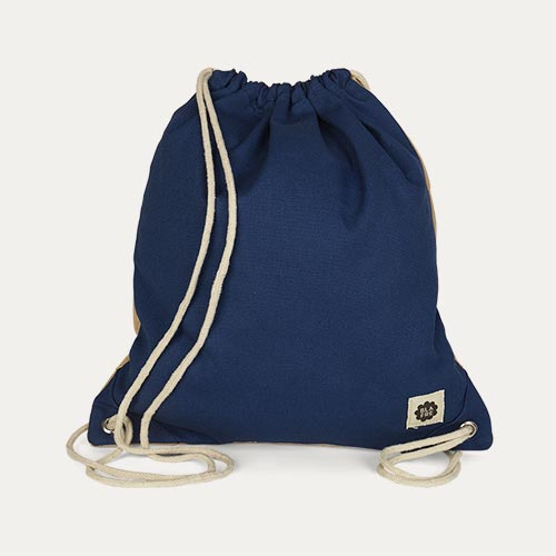 Navy & Beige Blafre Drawstring Bag