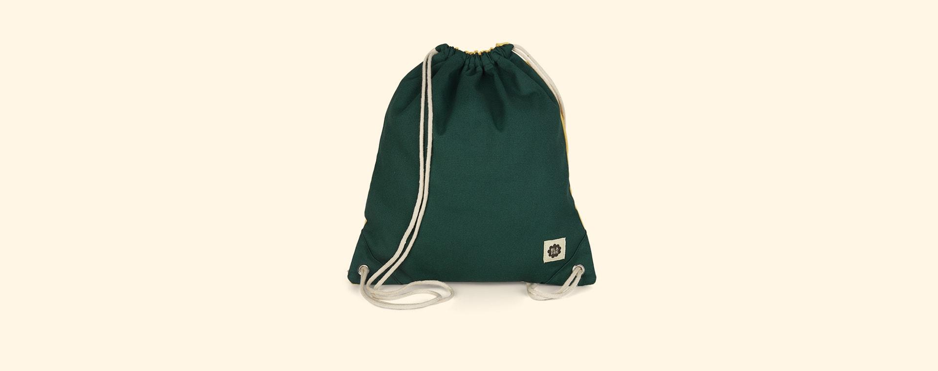 Dark Green & Yellow Blafre Drawstring Bag