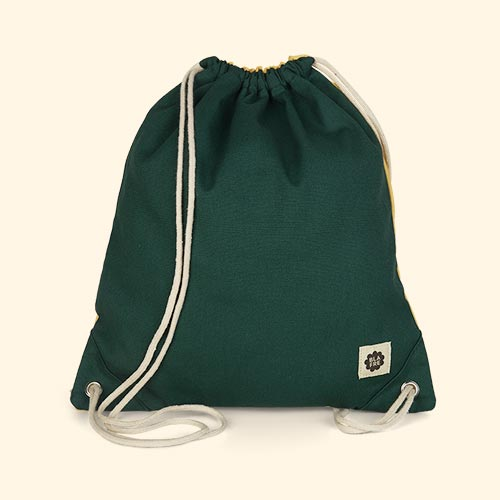 Dark Green & Yellow Blafre Drawstring Bag