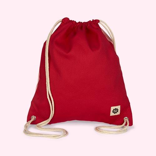 Red & Pink Blafre Drawstring Bag