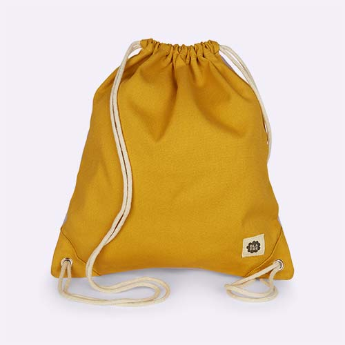 Yellow & Light Purple Blafre Drawstring Bag