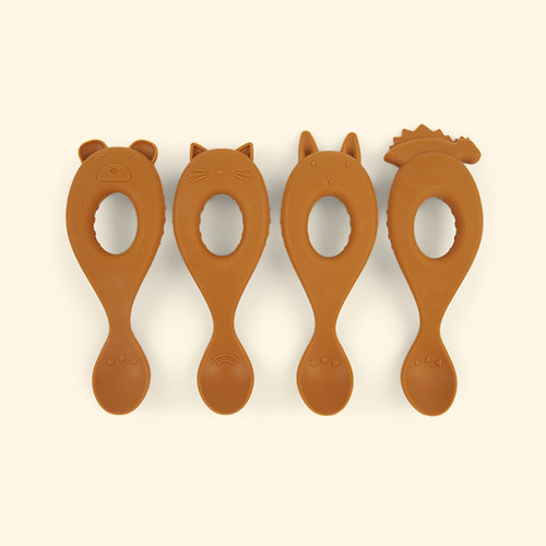 Mustard Liewood Liva Silicone Spoon - 4 Pack