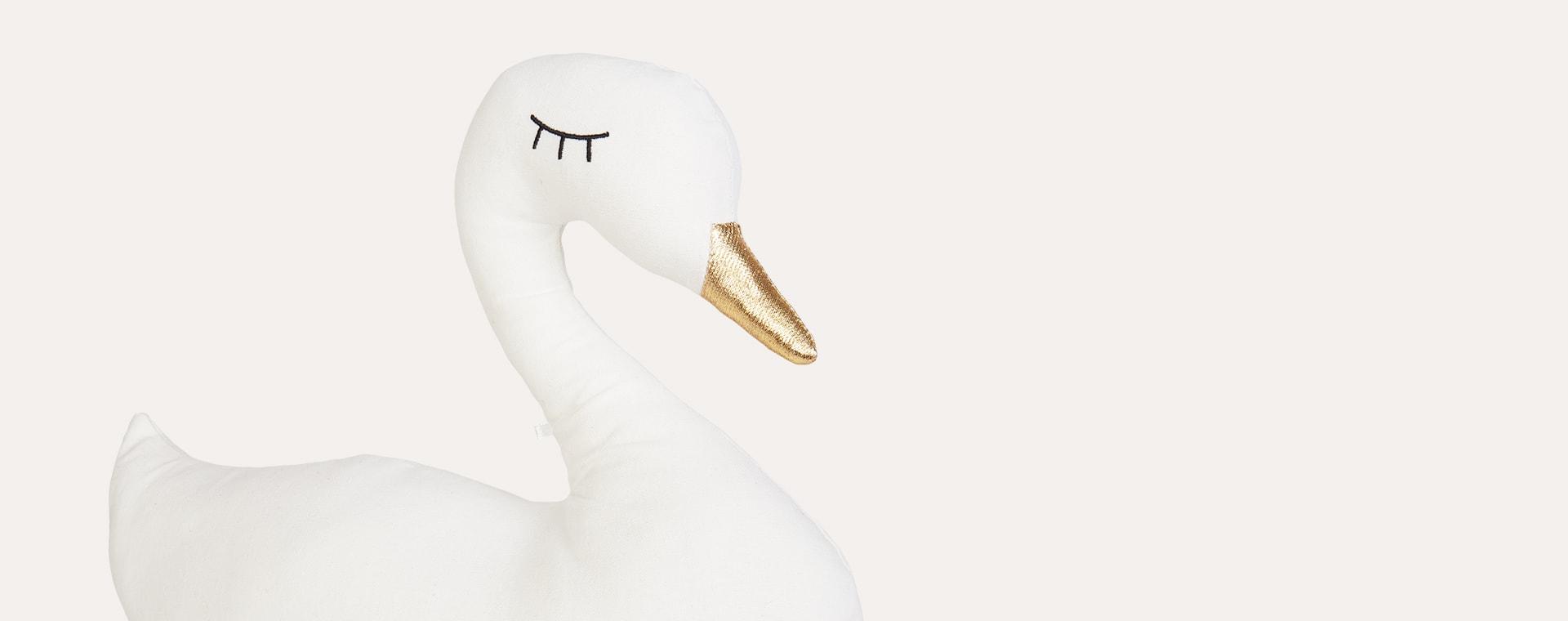 White Jabadabado Swan Cushion