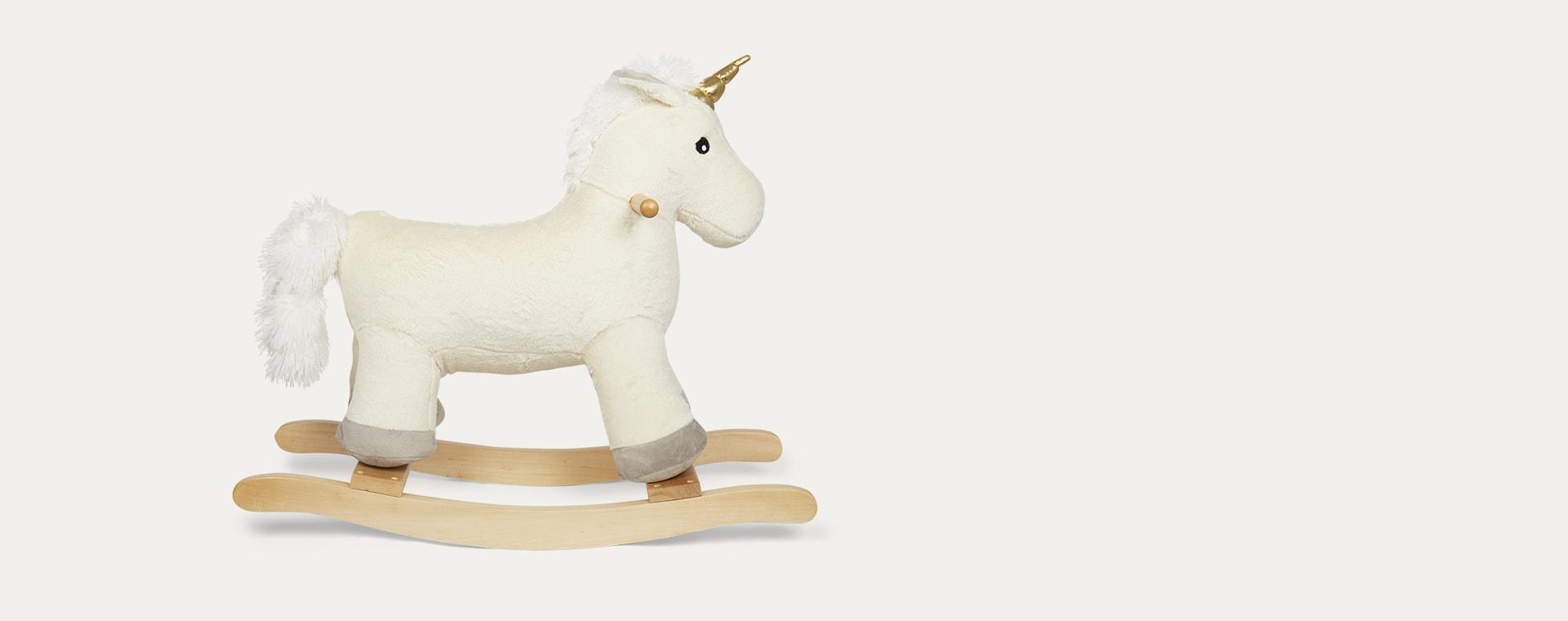 White Jabadabado Plush Unicorn Rocking Horse