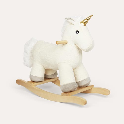 White Jabadabado Plush Unicorn Rocking Horse