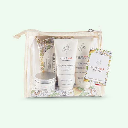 White Storksak Little Traveller Toiletry Set
