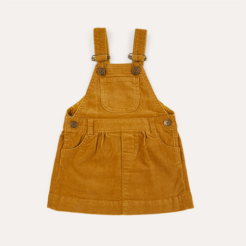 Caramel Dotty Dungarees Corduroy Dress