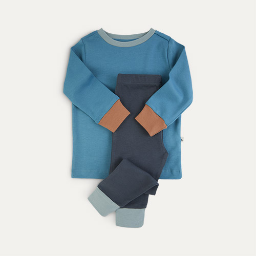 Deep Blue Mix KIDLY Label Organic Pyjamas