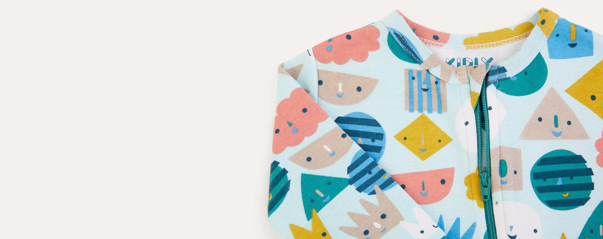 Blue Faces KIDLY Label Organic Zip Sleepsuit