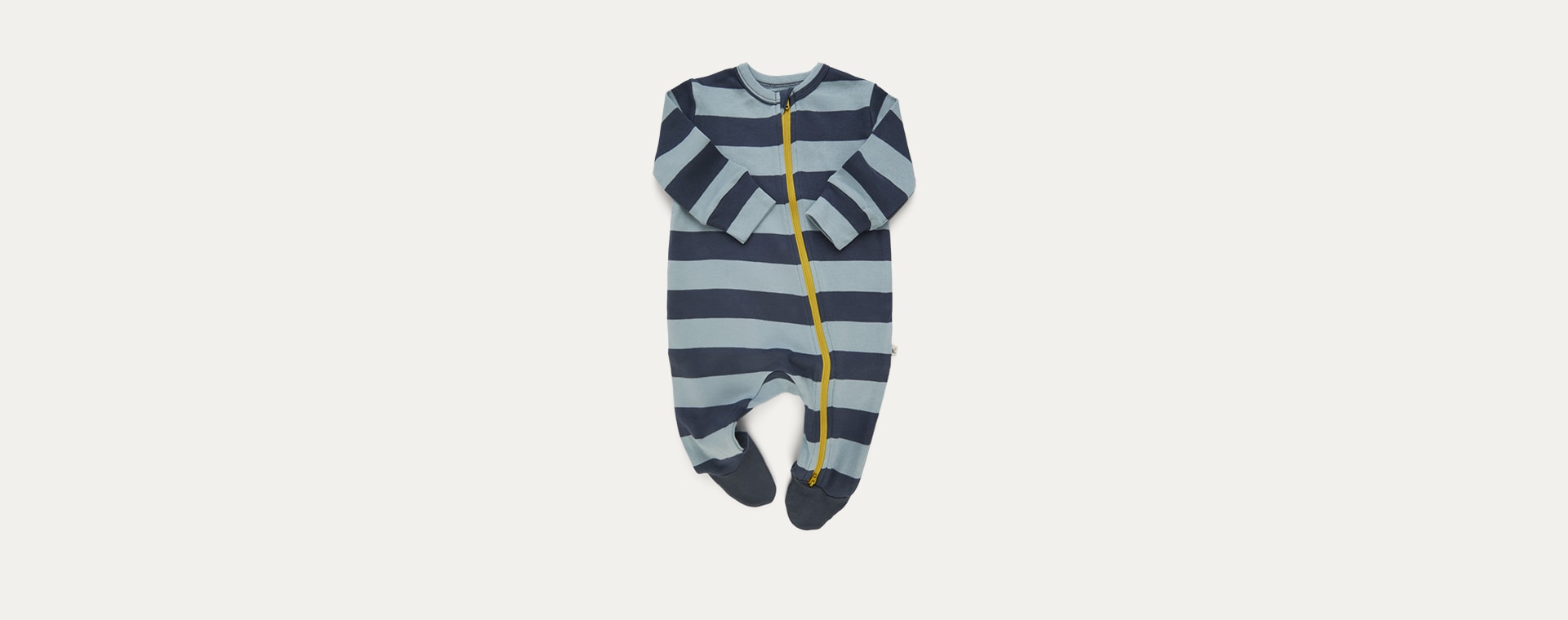Blue Stripe KIDLY Label Organic Zip Sleepsuit