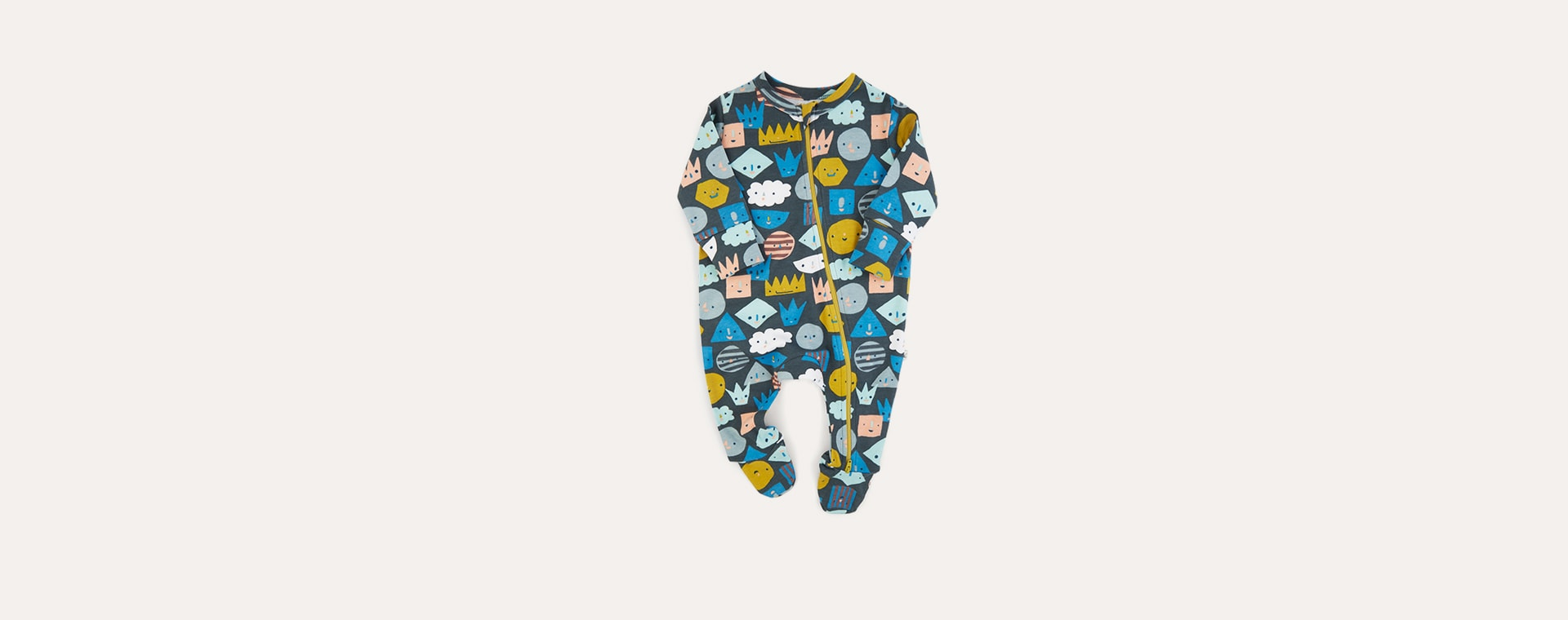 Shapes KIDLY Label Organic Zip Sleepsuit