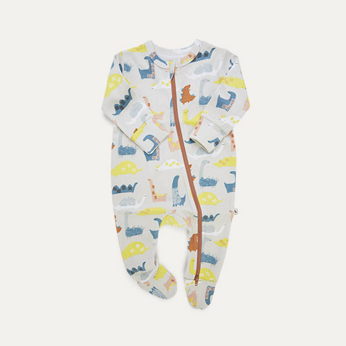 Dino Print KIDLY Label Organic Zip Sleepsuit