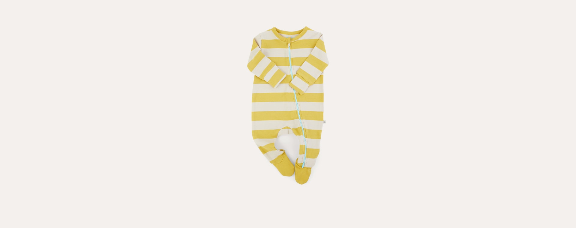 Mustard Stripe KIDLY Label Organic Zip Sleepsuit