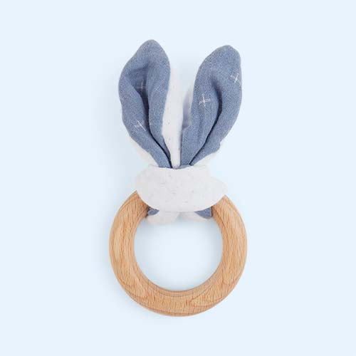 Blue Nattou Pure Bunny Wooden Teether