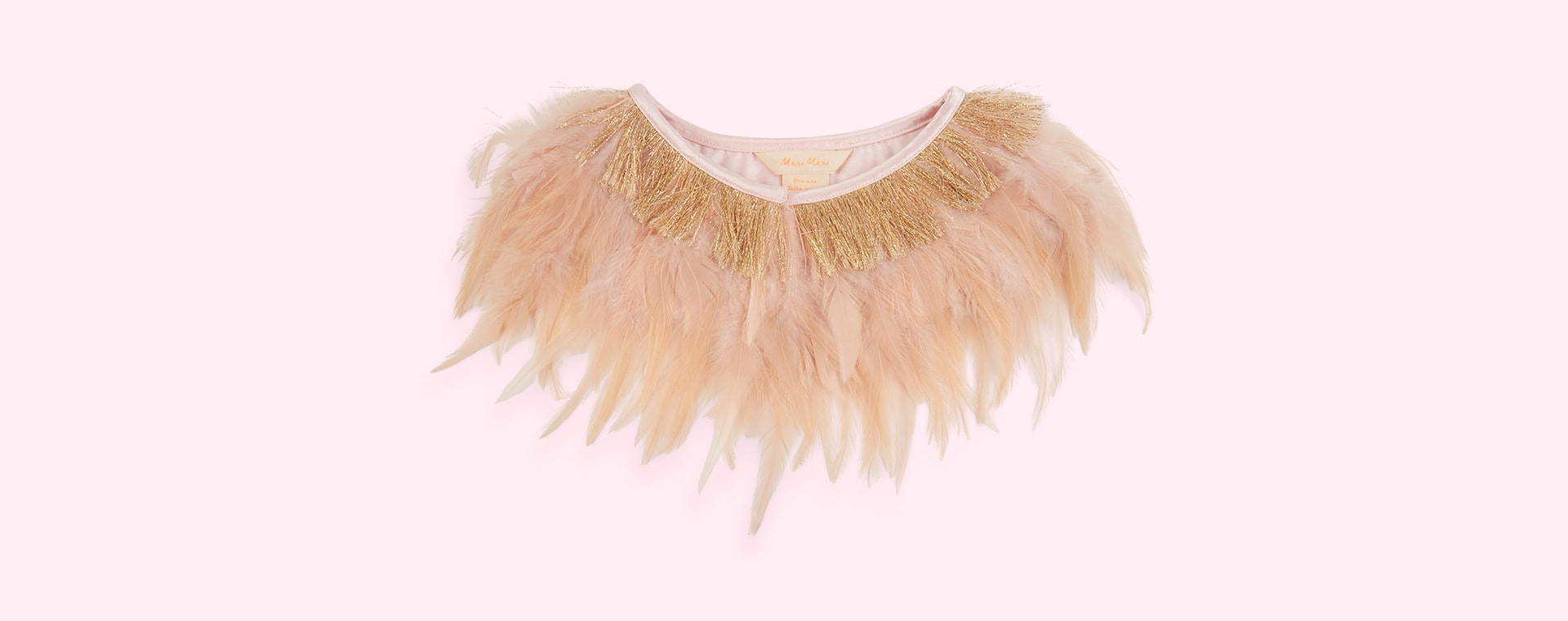 Cream Meri Meri Peach Feather Capelet