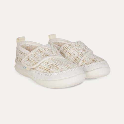 White TOMS Metallic Inca Slippers