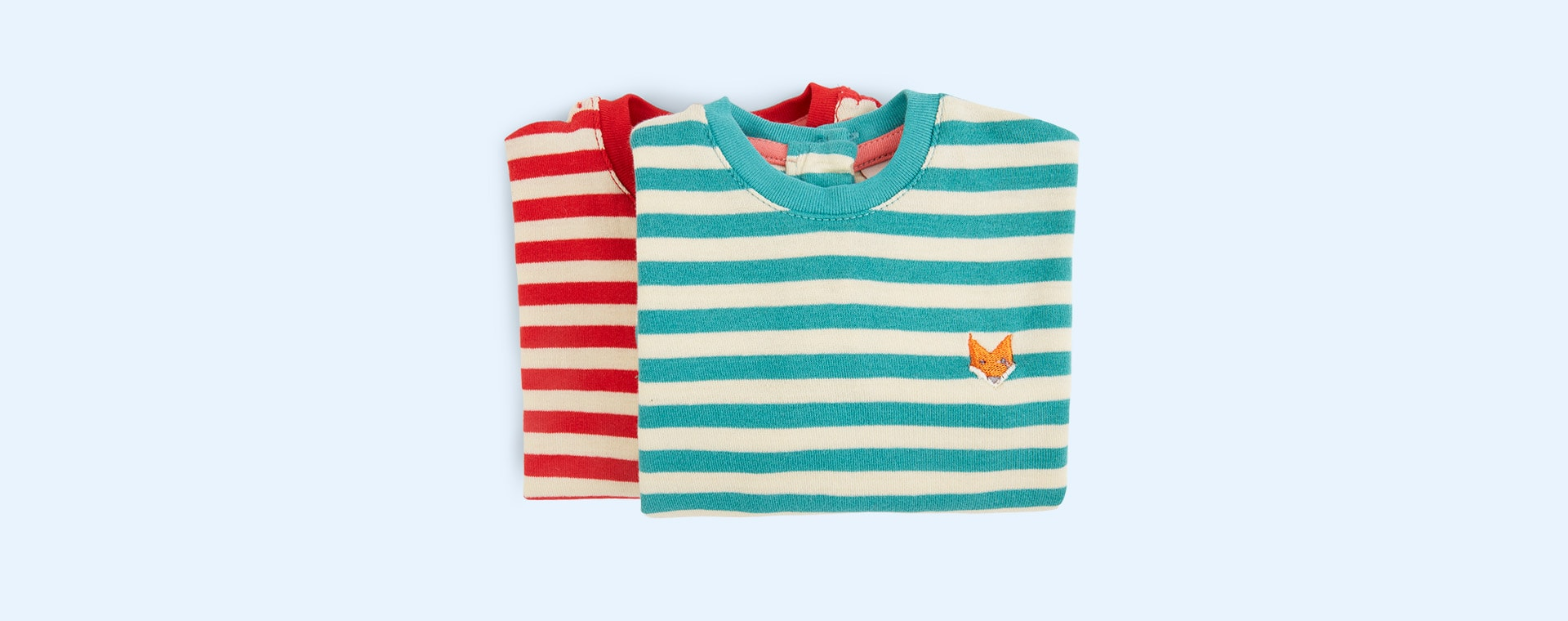 Red/Teal Tootsa Striped Long Sleeve Tops 2 Pack