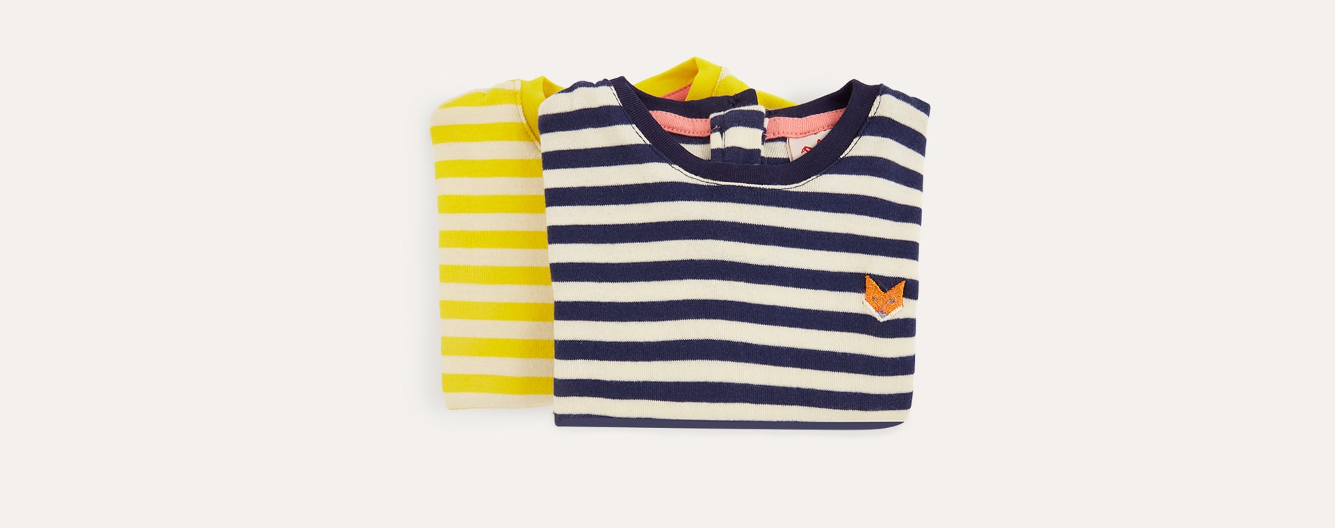 Sun/Navy Tootsa Striped Long Sleeve Tops 2 Pack