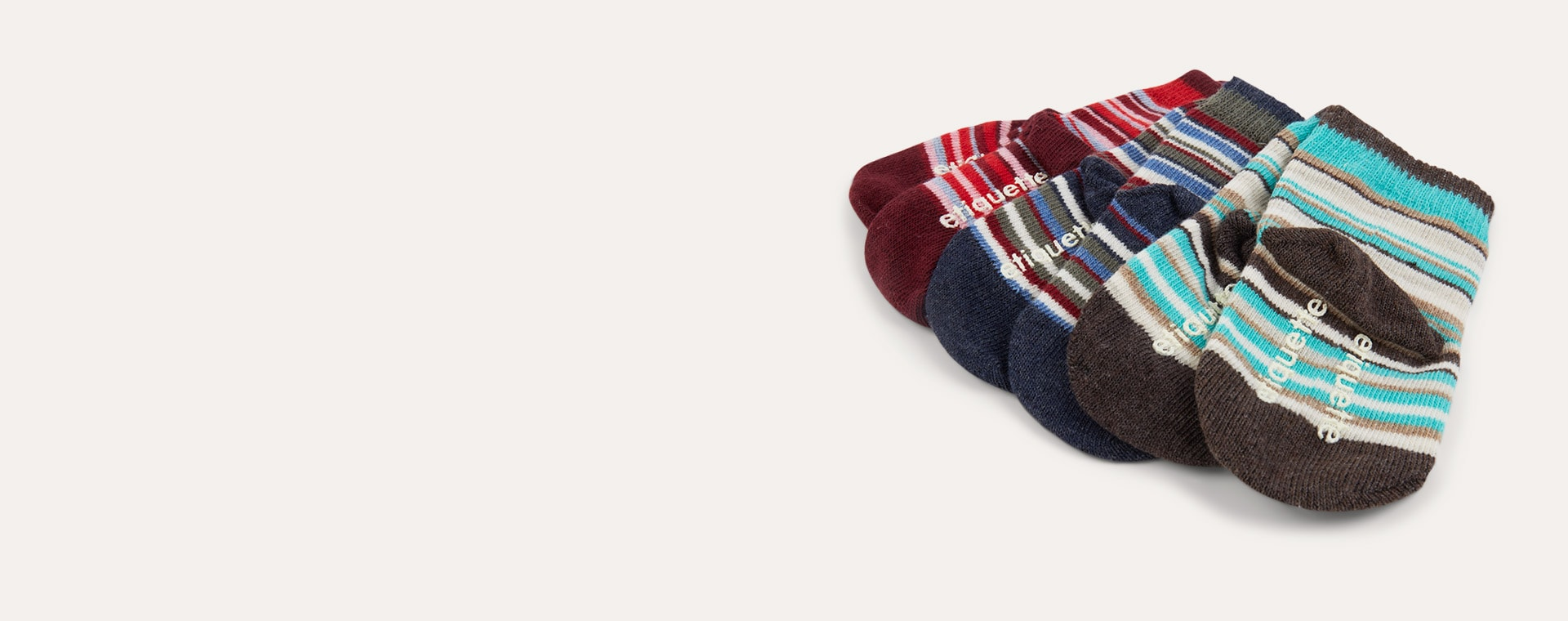 Multi etiquette Sirpol Stripey Baby Socks 3 Pack 0-12m