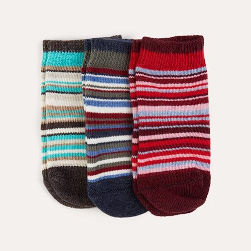 Multi etiquette 3-Pack Sirpol Stripey Baby Socks 0-12m