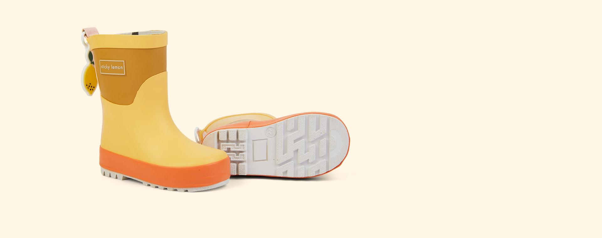 Retro Yellow and Caramel Fudge Sticky Lemon Three Tones Rainboot