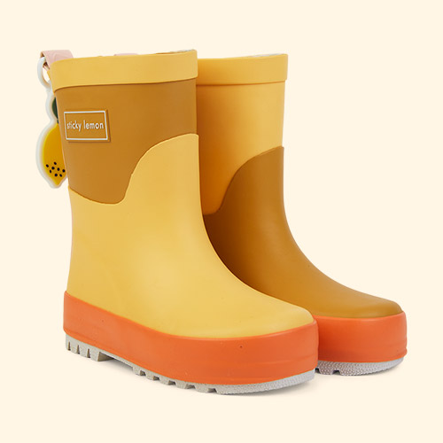 Retro Yellow and Caramel Fudge Sticky Lemon Three Tones Rainboot