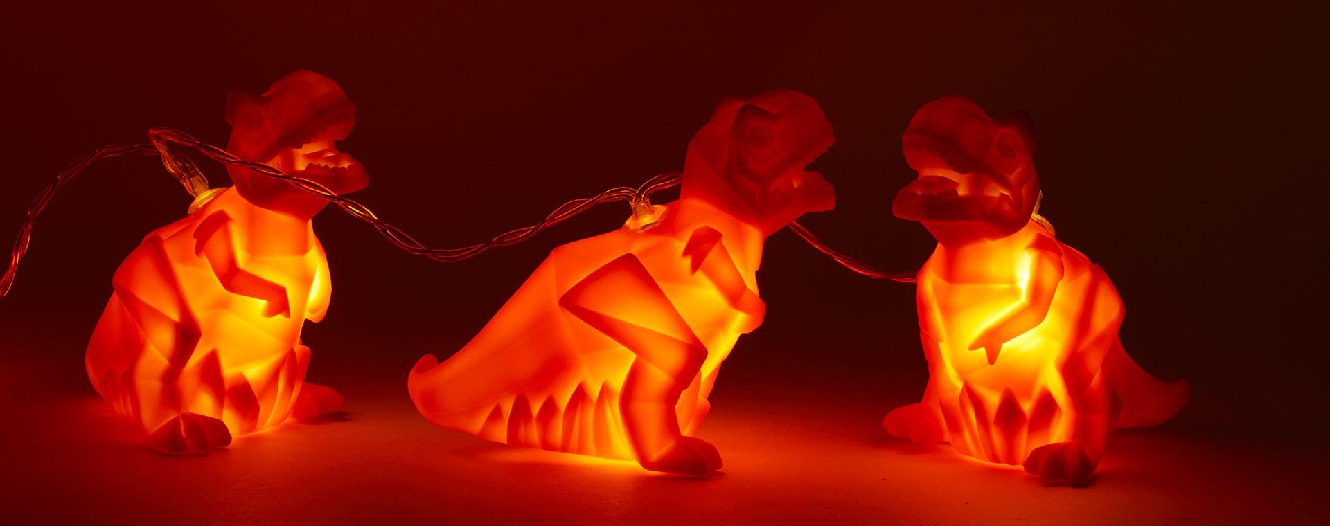 Orange House of Disaster Origami Dinosaur String Lights