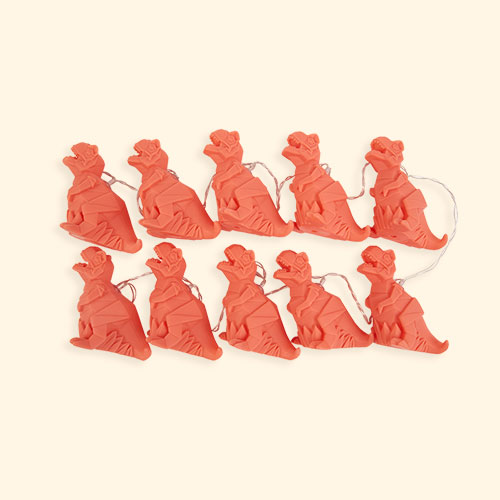 Orange House of Disaster Origami Dinosaur String Lights