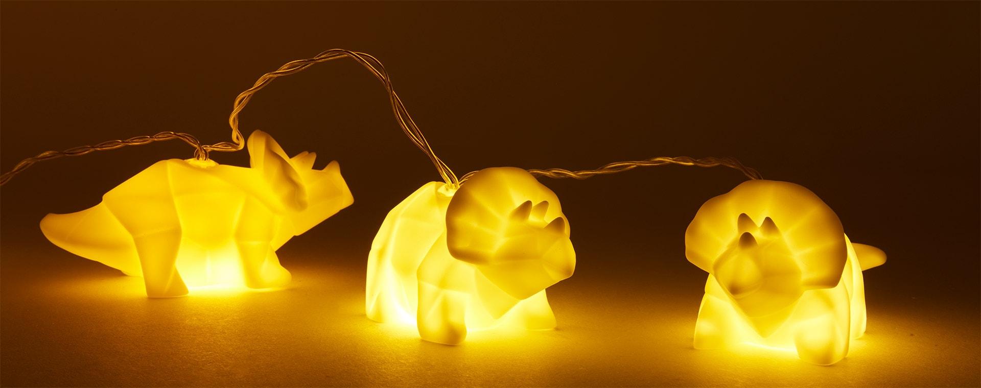 White House of Disaster Origami Dinosaur String Lights