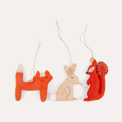 Multi Meri Meri Forest Animals Felt Tree Decorations Set Of 3