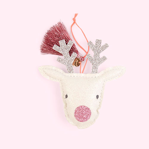 White Meri Meri Reindeer Tree Decoration