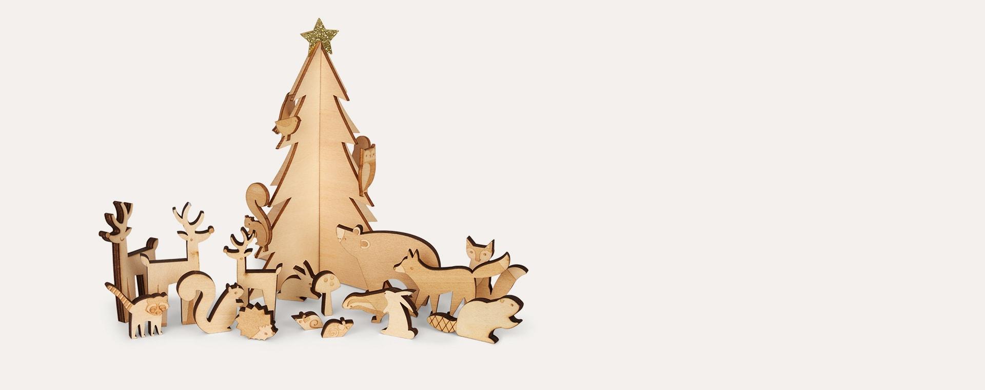 White Meri Meri Wooden Woodland Advent Calendar