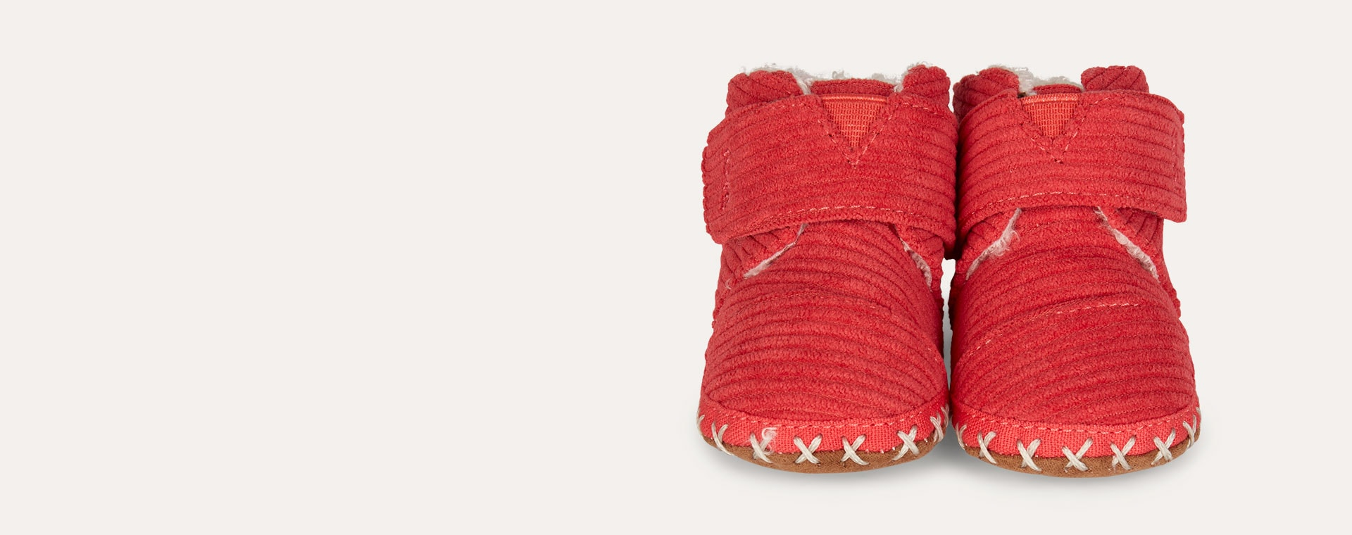 Red TOMS Corduroy Cuna Crib Boot
