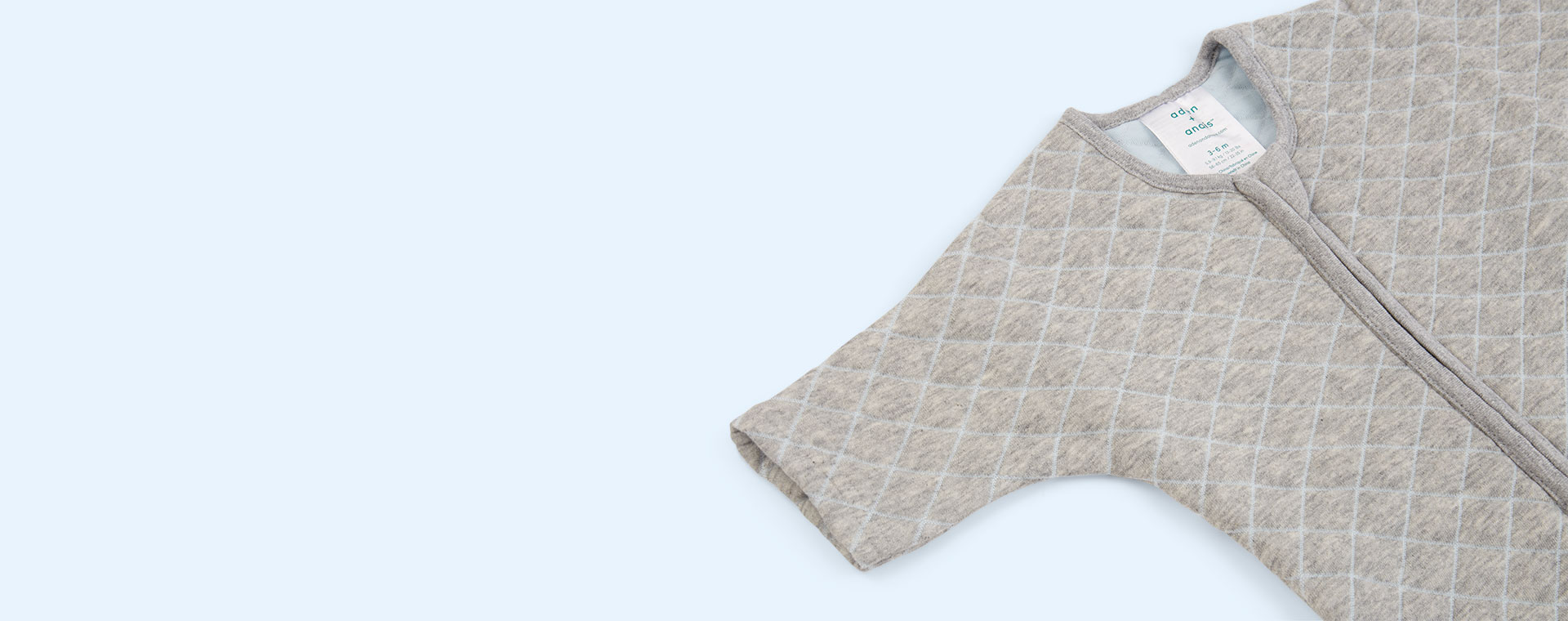 Heather Grey/Blue Stitch aden + anais Snug Fit Sleeved Sleeping Bag